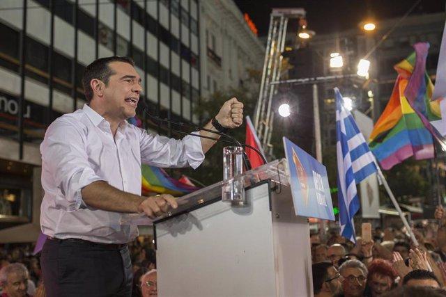 El primer ministro griego, Alexis Tsipras, durante un mitin.