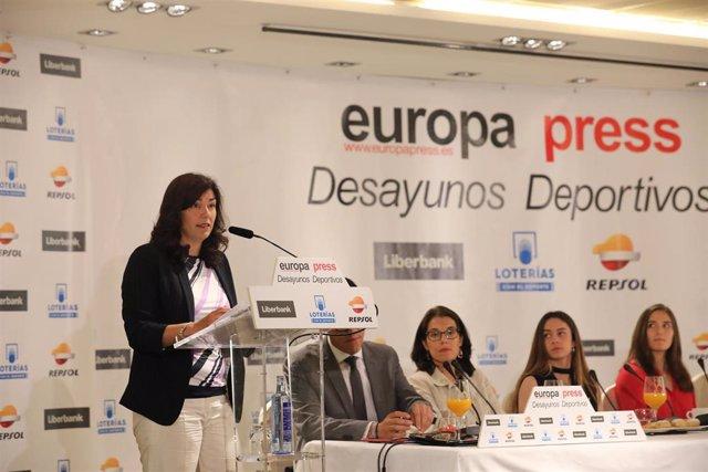 La presidenta del Consejo Superior de Deportes, María José Rienda, interviene en el Desayuno Deportivo de Europa Press 'Motor, con M de Mujer' en el Hotel Hesperia de Madrid.