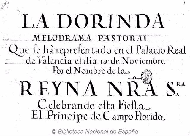 Portada Del Manuscrito De La Ópera 'La Dorinda'