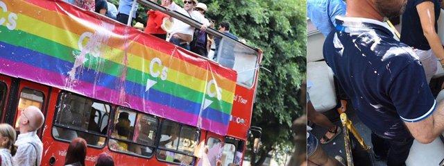 Pintura en el autobús de Cs en la manifestación del Orgullo LGTBI+ de València