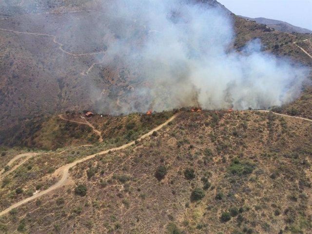 Incendio forestal en Málaga