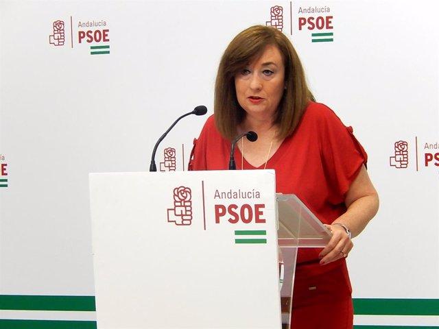 La portavoz de Igualdad del Grupo Parlamentario Socialista, Soledad Pérez, en rueda de prensa