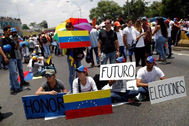 La oposición venezolana durante una protesta en Caracas, la capital del país.