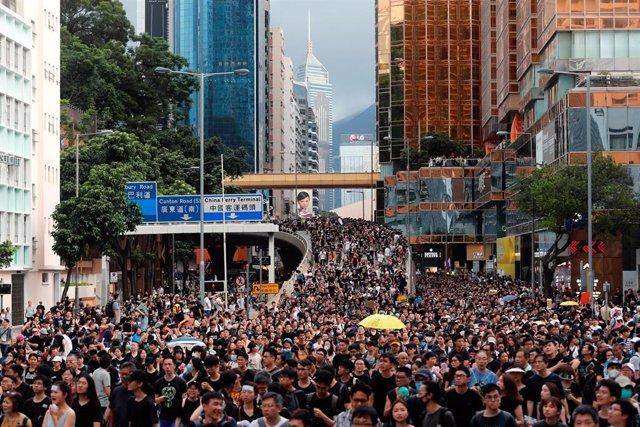 Manifestantes durante nuevas protestas en Kowloon, en Hong Kong.