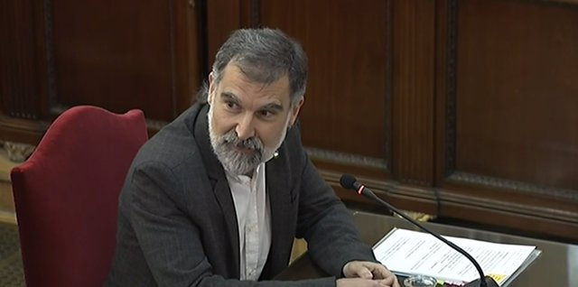 Jordi Cuixart durante el juicio del 1-O en el Tribunal Supremo