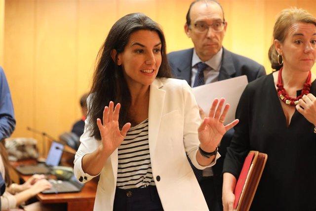 La portavoz de Vox en la Asamblea de Madrid, Rocío Monasterio, durante una reunión de la Junta de Portavoces de los Grupos Parlamentarios en la Asamblea de Madrid.