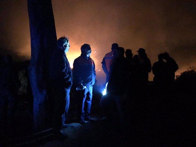 Tareas de extinción del incendio forestal declarado en Ceuta