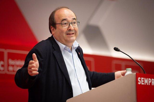 El primer secretari del PSC, Miquel Iceta, intervé davant el Consell Nacional del partit.