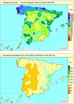Mapa de pluges registrades a Espanya des l'1 d'octubre de 2018 al 2 de juliol de 2019. Balan hídric. La manca de pluges acumulada afecta la major part del país, excepte Llevant, Granada i algunes altres zones localitzades.
