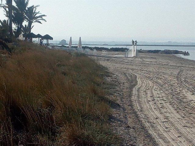 Fotografía de zona donde se ha eliminado vegetación y preparativos para boda