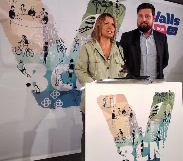 Eva Parera amb Fernando Carrera (BCN Canvi-Cs) en una imatge d'arxiu.