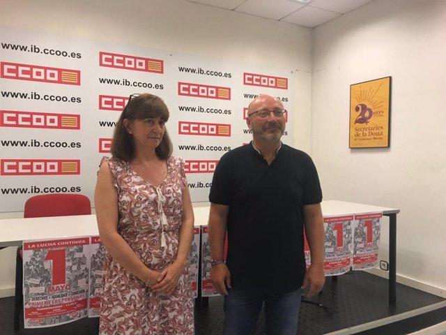 El secretari general de CCOO de Balears, José Luis García, abans d'una roda de premsa en CCOO