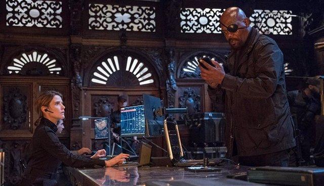 Imagen de Cobie Smulders y Samuel L. Jackson como Mariah Hill y Nick Furia en Spider-Man: Lejos de casa