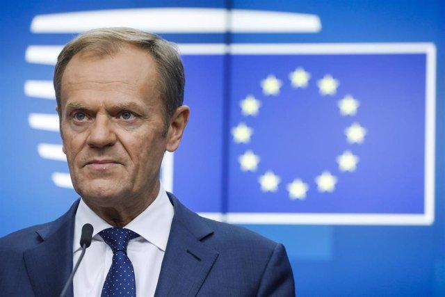 Donald Tusk en rueda de prensa en Bruselas