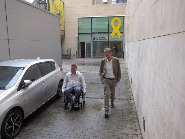 El president del PDeCAT David Bonvehí i el secretari d'Organització Ferran Bel
