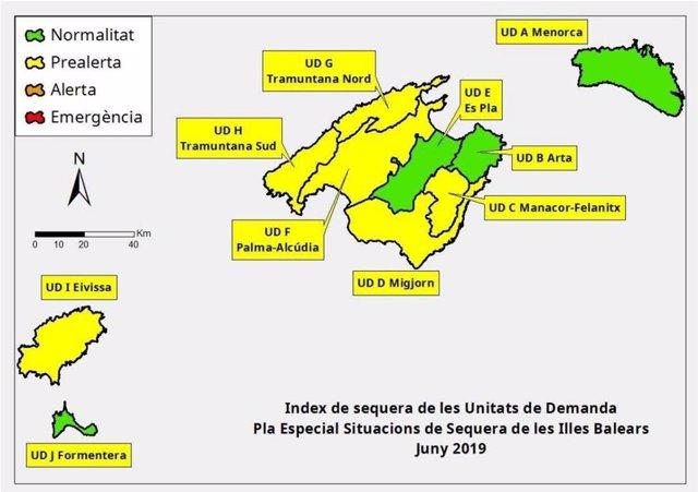 Índex de les reserves hídriques a Balears al juny