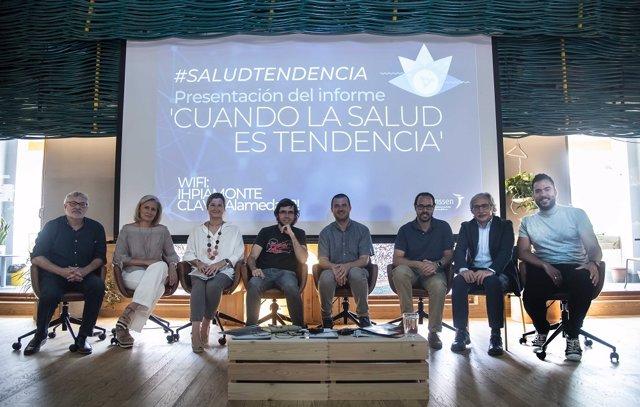 De izquierda a derecha: Javier Tovar, Riqui Villarroel, Carmela Ríos, José A. Plaza, Miguel Ángel Máñez, Gonzalo Oñoro, Joan Carles March y Pedro Soriano