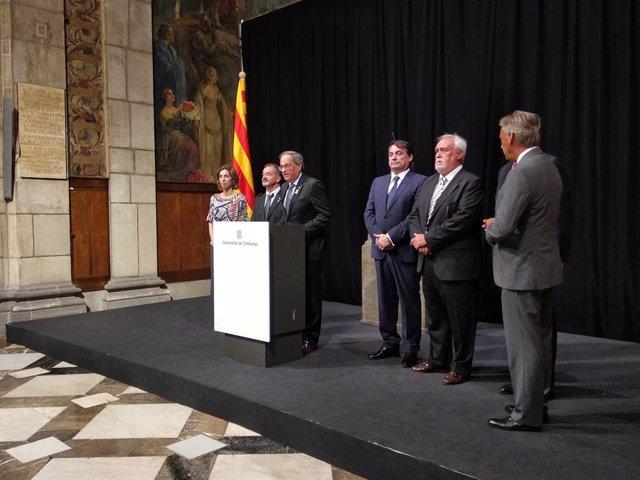 El president de la Generalitat, Quim Torra, en la recepció del cos consular