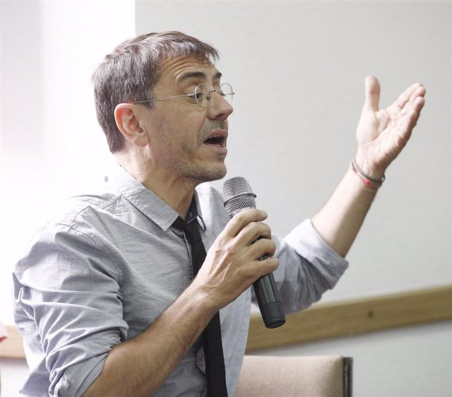El cofundador de Podemos, Juan Carlos Monedero, durante su intervención en la inauguración del curso 'Bases para un nuevo republicanismo'.