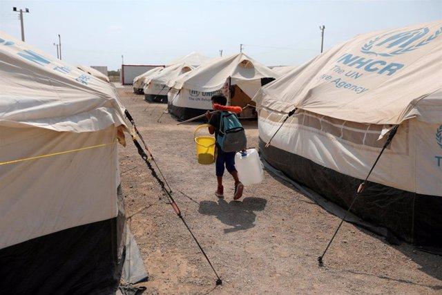 Un niño venezolano en un campamento de la ONU para migrantes y refugiados venezolanos en Colombia