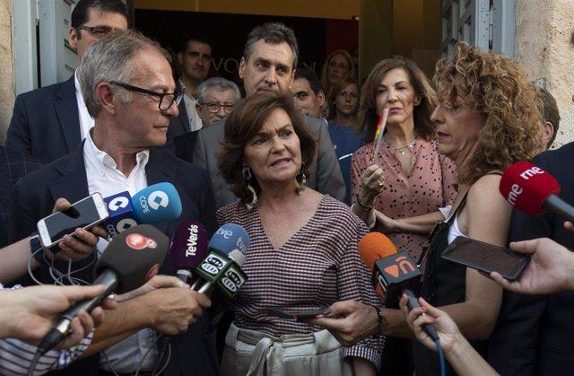 La vicepresidenta del Gobierno en funciones, Carmen Calvo, en declaraciones a la prensa