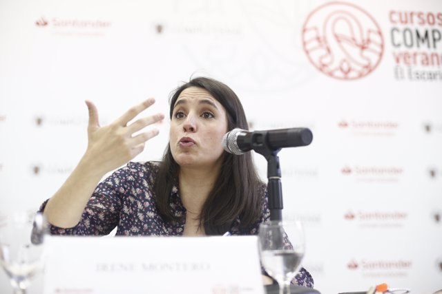 La portavoz de Podemos en el Congreso, Irene Montero, interviene en los cursos de verano de El Escorial en Madrid