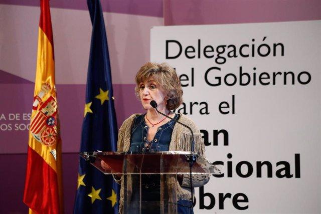 La ministra de Sanidad en funciones, María Luisa Carcedo, durante la inauguración del Primer  Encuentro de Investigaciones en Adicciones celebrado en la Secretaría de Estado de Igualdad.