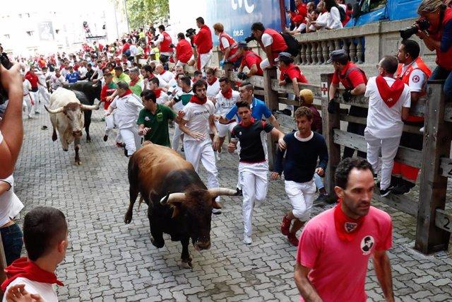 Decenas de personas corren en el segundo encierro de las fiestas de San Fermín con toros de la ganadería José Cebada Gago, a su llegada a la plaza.