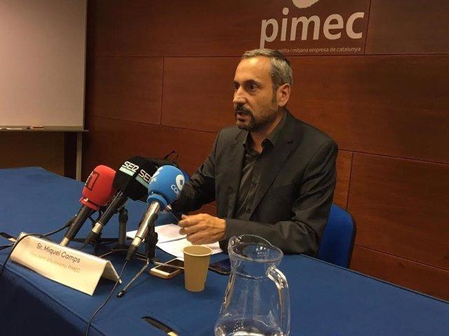 El presidente de Autònoms Pimec, Miquel Camps, en rueda de prensa este martes