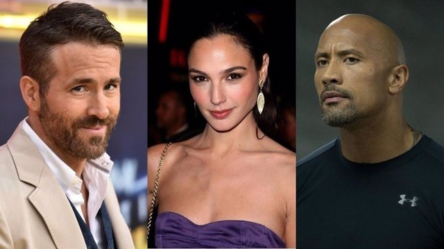 Ryan Reynolds, Gal Gadot y Dwayne Johnson