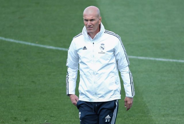 Zinedine Zidane of Real Madrid in action during training day, May 18th, in Ciudad Deportiva Real Madrid, Valdebebas, Madrid, Spain.