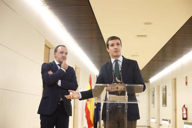 El presidente de UPN, Javier Esparza (i), y el presidente del PP, Pablo Casado, ofrecen declaraciones a los medios de comunicación tras su reunión en el Congreso de los Diputados.