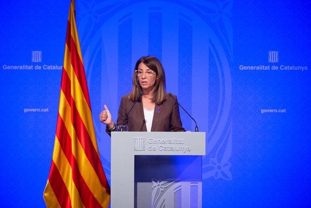 La consellera i portaveu del Govern de la Generalitat Meritxell Budó compareix en roda de premsa després del Consell Executiu.
