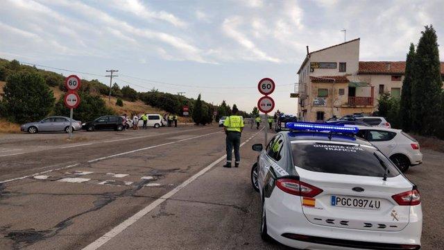 Control de la Guardia Civil durante las fiestas de Teruel.