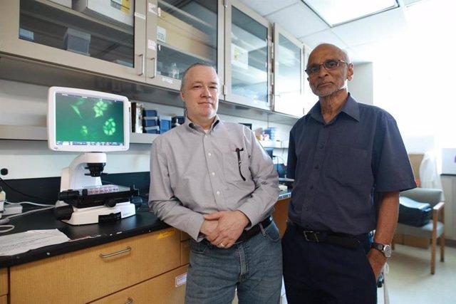 El Dr. William Taylor, a la izquierda, y el Dr. LM Viranga Tillekeratne están investigando una pequeña molécula que bloquea y mata a las células madre del cáncer.