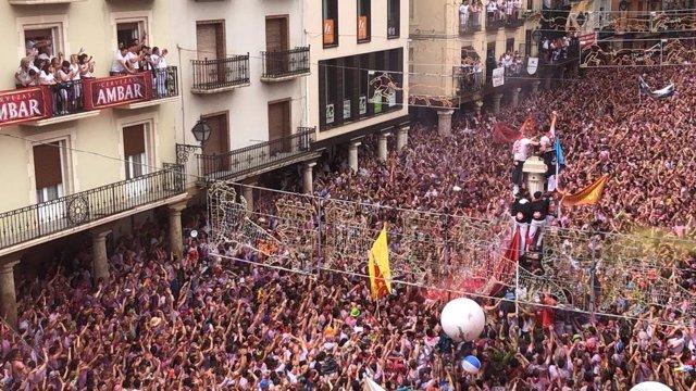 Puesta del pañuelico este sábado en Teruel.