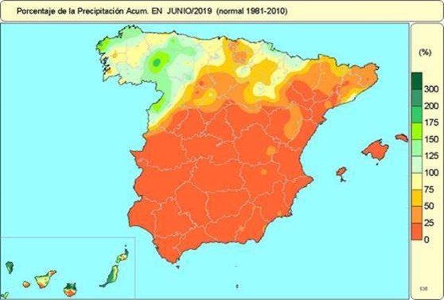 Mapa de precipitaciones acumuladas en junio de 2019