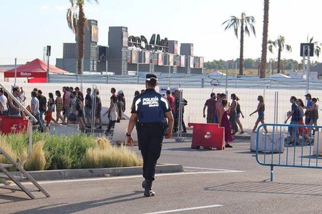 Policía Municipal de Madrid trabajando en el Mad Cool