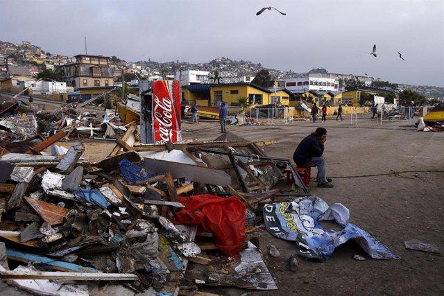 La costa de Chile devastada