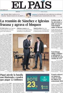 Portada del periódico El País