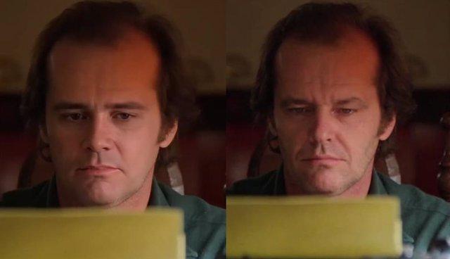 Imagen del 'deepfake' de El resplandor con Jim Carrey y fotograma de la película de Stanley Kubrick con Jack Nicholson