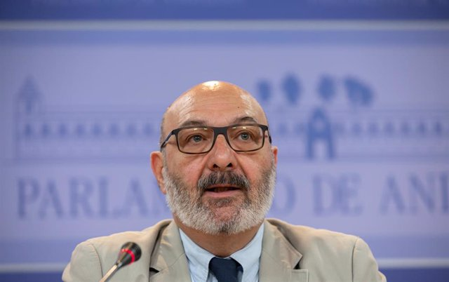 Rueda de prensa del portavoz de Vox en el Parlamento andaluz, Alejandro Hernández.