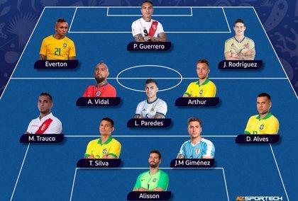 Brasil domina el once ideal de la Copa América con la ausencia de Messi
