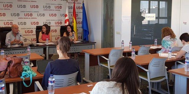 Rueda de prensa de USO de presentación del informe 'Situación de las mujeres durante su vida laboral y jubilación'.