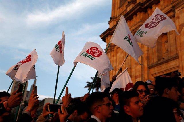 Manifestación de la FARC en apoyo a la justicia transicional