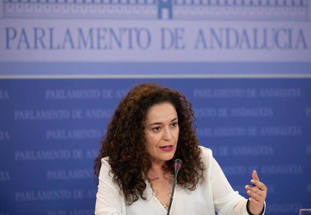 La portavoz parlamentaria de Adelante Andalucía, Inmaculada Nieto, en rueda de prensa
