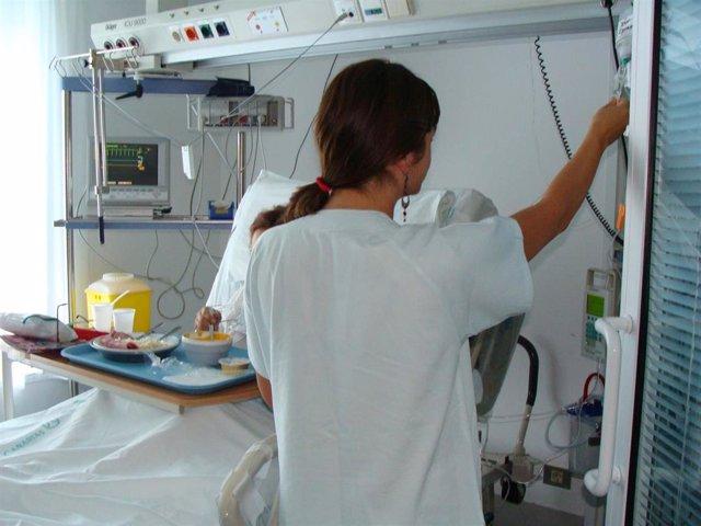 Una enfermera en una foto de archivo