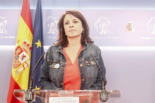 Rueda de prensa de Adriana Lastra tras la reunión de Pedro Sánchez y Pablo Iglesias