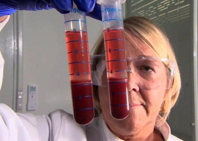 Investigadores de la Escuela de Biociencias de la Universidad de Nottingham preparan muestras de sangre para las pruebas 'Actiphage'