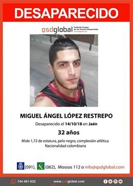 Cartel por la desaparición de Miguel Ángel López Restrepo